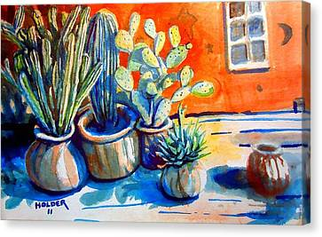 Cactus In Pots Canvas Print by Steven Holder