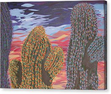 Cactus Of Color 1 Canvas Print by Marcia Weller