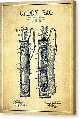 Caddy Bag Patent Drawing From 1905 - Vintage Canvas Print by Aged Pixel