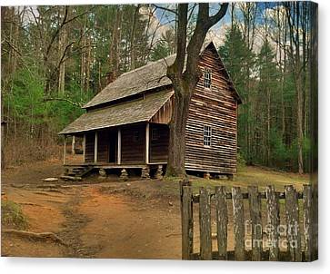 Cades Cove Cabin Canvas Print by Janice Spivey