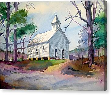 Cades Cove Church Canvas Print by Spencer Meagher