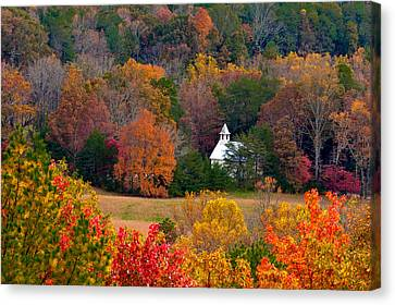Cades Cove Church Canvas Print by Tyson and Kathy Smith
