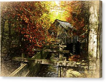 Grist Mill Canvas Print - Cade's Cove Colors by Mel Steinhauer