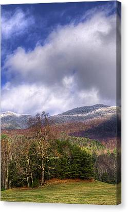 Cades Cove First Dusting Of Snow II Canvas Print by Debra and Dave Vanderlaan
