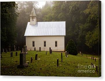 Cades Cove Methodist Church Canvas Print by Deborah Scannell