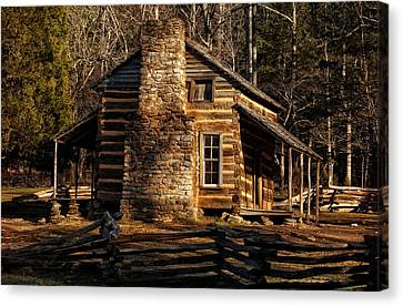 Log Cabin Canvas Print - Cades Cove Oliver's Cabin by Greg and Chrystal Mimbs