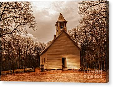 Cades Cove Primitive Baptist Church Canvas Print by Deborah Scannell
