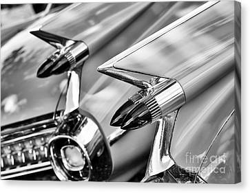 Cadillac Bullet Tail Lights Monochrome Canvas Print by Tim Gainey