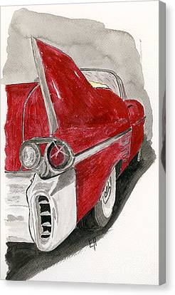 Canvas Print featuring the painting Cadillac by Eva Ason