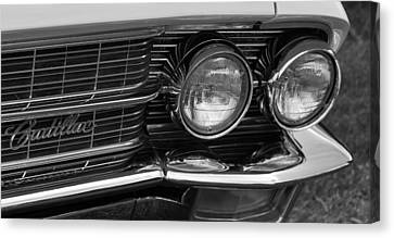 Cadillac Grill And Lights B/w Canvas Print by Mick Flynn
