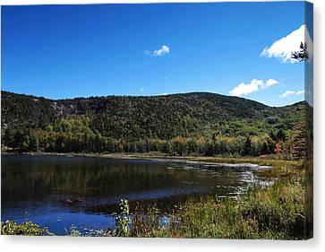 Cadillac Mountain And Lake In Acadia National Park Canvas Print by Paul Ge