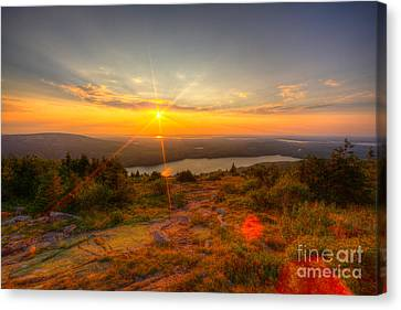 Cadillac Mountain Sunset Acadia National Park Bar Harbor Maine Canvas Print by Wayne Moran