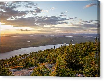 Canvas Print featuring the photograph Cadillac Mountain Sunset  by Trace Kittrell