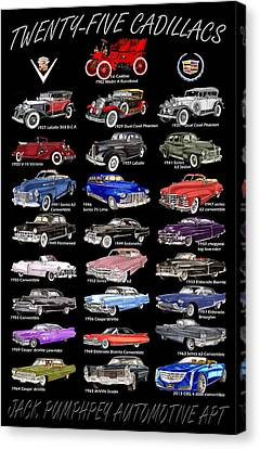 25 Cadillacs In A Poster  Canvas Print
