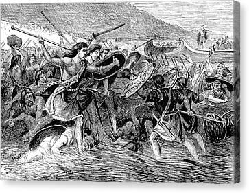 Caesar Invading Britain Canvas Print by Granger