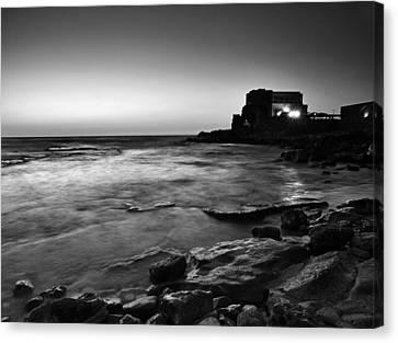 Canvas Print featuring the photograph Caesarea  Bw by Meir Ezrachi