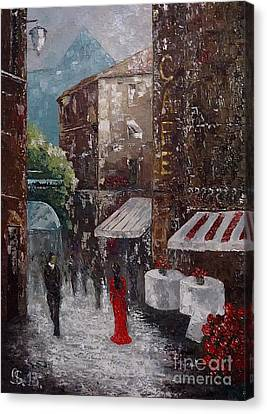 Cafe Canvas Print by AmaS Art