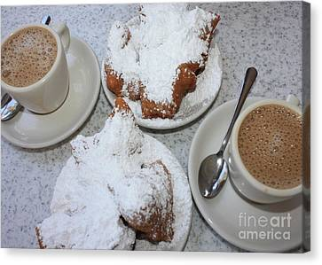 Cafe Au Lait And Beignets Canvas Print by Carol Groenen
