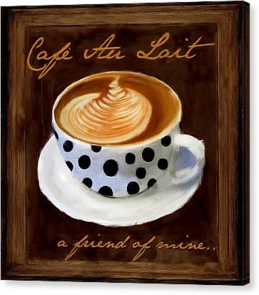 Bistro Canvas Print - Cafe Au Lait by Lourry Legarde