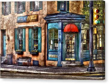 Cafe - Cafe America Canvas Print by Mike Savad