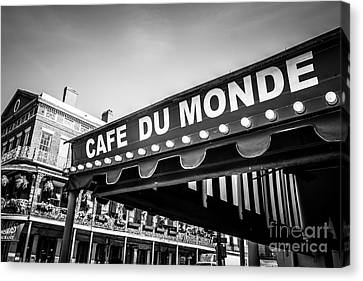 Cafe Du Monde Black And White Picture Canvas Print by Paul Velgos