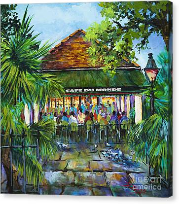 Canvas Print featuring the painting Cafe Du Monde Morning by Dianne Parks