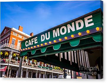 Cafe Du Monde Picture In New Orleans Louisiana Canvas Print by Paul Velgos