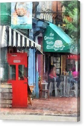 Street Scenes Canvas Print - Cafe Fells Point Md by Susan Savad