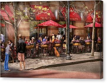 Cafe - Hoboken Nj - Cafe Trinity  Canvas Print by Mike Savad
