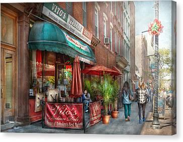 Cafe - Hoboken Nj - Vito's Italian Deli  Canvas Print by Mike Savad