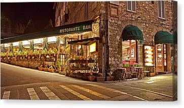 Italian Street Canvas Print - Cafe In Assisi At Night by Susan Schmitz