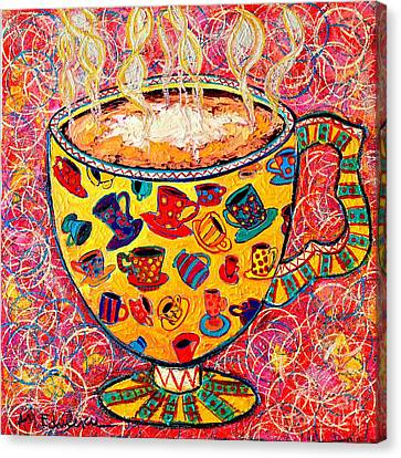 Cafe Latte - Coffee Cup With Colorful Coffee Cups Some Pink And Bubbles  Canvas Print by Ana Maria Edulescu