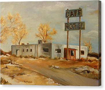 Cafe Motel Canvas Print by Lindsay Frost