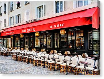 Cafe On Rue Cler Canvas Print by Mel Steinhauer