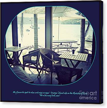 Canvas Print featuring the photograph Cafe On The River by Leanne Seymour