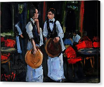Cafe Philosophers Canvas Print by Carole Foret