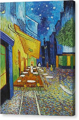 Cafe Terrace At Night Canvas Print by Georgia Fowler