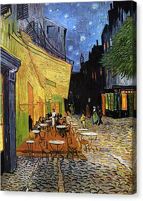 Canvas Print featuring the digital art Cafe Terrace At Night Reproduction Art Work by Vincent van Gogh