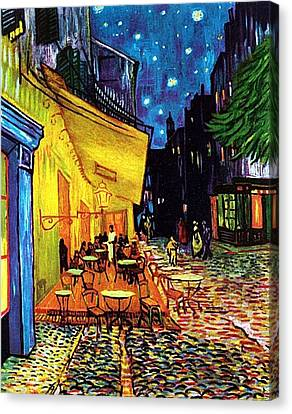 Canvas Print featuring the painting Cafe Terrace Place Du Forum At Night  by Vincent Van Gogh