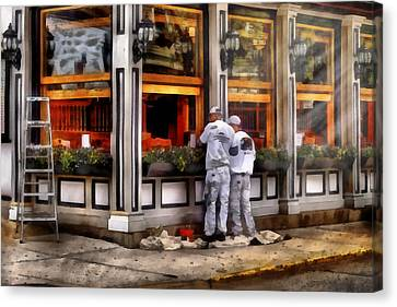 Cafe - The Painters Canvas Print by Mike Savad