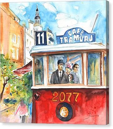 Cafe Tramvaj In Prague Canvas Print by Miki De Goodaboom