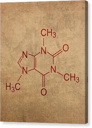Caffeine Molecule Coffee Fanatic Humor Art Poster Canvas Print