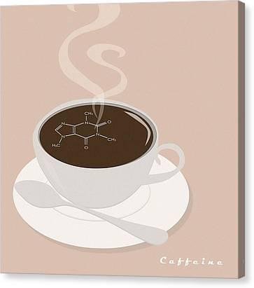 Caffeine Molecule Canvas Print by Kate Paulos