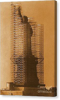 New York Lady Liberty Statue Of Liberty Caged Freedom Canvas Print by Michael Hoard