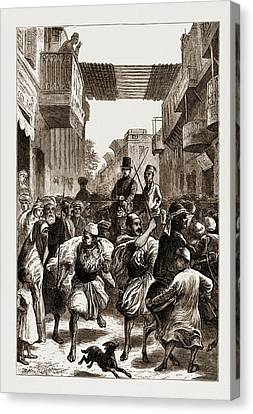 Cairo, Egypt, 1876 Clearing The Way For Ladies Canvas Print