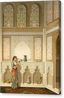 Full Skirt Canvas Print - Cairo Interior  by Emile Prisse d'Avennes