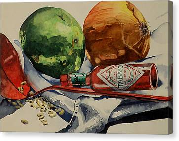 Canvas Print featuring the painting Cajun Cookin' by Jeffrey S Perrine