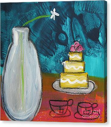 Cake And Tea For Two Canvas Print by Linda Woods