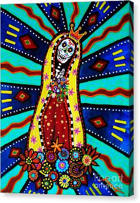 Canvas Print featuring the painting Calavera Virgen by Pristine Cartera Turkus