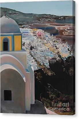 Caldera Church Santorini Canvas Print by Debra Chmelina